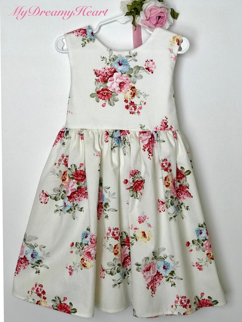 pink dress fabric rose little dress Easter dress girl/'s dress fabric rose children dress spring dress Summer dress