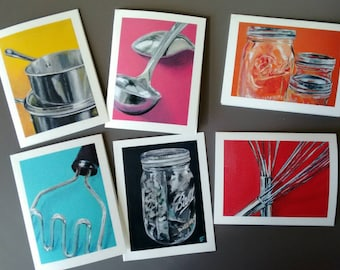 Kitchen Tools - Set of 6 Note Cards with Envelopes - Fine Art Prints