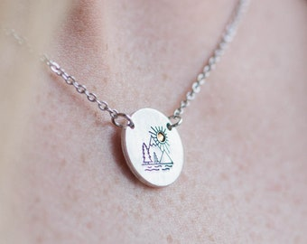 Mountain Necklace, Dainty Jewelry, Gifts For Her, Moon Necklace, Mountain Jewelry, Simple Necklace, Minimalist Jewelry, Dainty Pendant