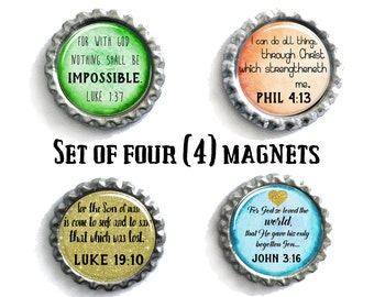 Christian Gifts, Refrigerator Magnets, Gifts Under 10, Set of 4 Magnets, Gifts For Her, Fridge Magnets, Bulk Magnets, Religious Presents
