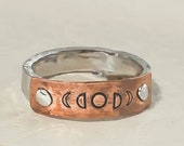 Moon Phase Ring, Rustic Ring, Mixed Metal Jewelry, Statement Ring, Celestial Jewelry, Mens Ring, Unisex Ring, Thumb Ring, Copper Jewelry