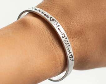 Custom Name Bracelet, Hand Stamped Jewelry, Silver Cuff Bracelet, Mom Jewelry, Mother's Day Gifts For Mom, Grandma Bracelet, Personalized