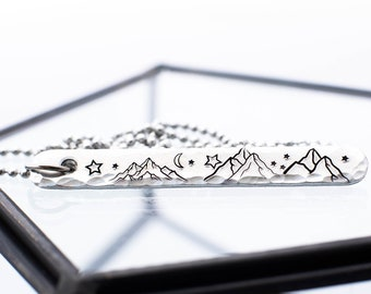 Mountain Necklace, Gifts for Travelers, Celestial Jewelry, Nature Necklace, Bar Necklace, Minimalist Jewelry, Silver Jewelry