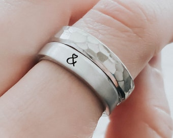 Rings for Women, Ring Set, Stacking Rings, Ampersand Ring, Minimalist Rings, Simple Jewelry, Minimalist Jewelry, Adjustable Rings, Hammered