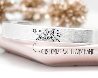 Mountain Bracelet, Name Bracelet, Bracelets for Women, Personalized Gift For Her, Custom Bracelet, Personalized Jewelry, Moon Bracelet
