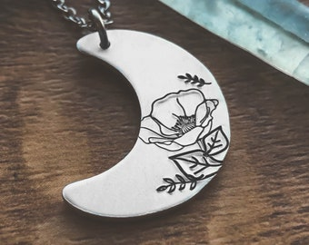 Moon Necklace, Necklaces For Women, Gifts for Her,  Floral Jewelry, Celestial Necklace, Botanical Jewelry, Hypoallergenic Jewelry