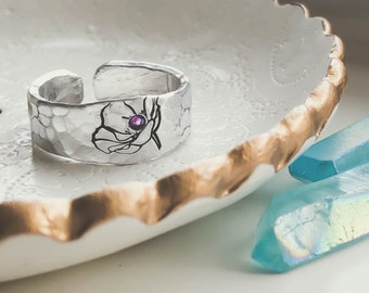 Rings For Women, Flower Ring, Wide Band Ring, Thumb Rings For Women, Wedding Jewelry, Boho Rings, Silver Rings, Statement Jewelry, Floral