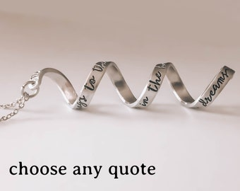 Custom Quote Necklace, Necklaces For Women, Meaningful Gifts, Spiral Necklace, Remembrance Gifts, In Memorial, Twist Necklace, Personalized