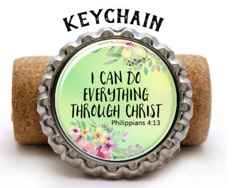 Christian Gifts Under 5, Inspirational Keychains, Bible Study Gift Ideas, Bible Verse Keychain, I Can Do Everything Through Christ