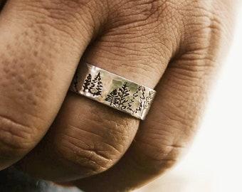 Tree Ring, Rings For Men, Forest Ring, Adjustable Ring, Birthday Gift For Men, Stacking Ring, Nature Rings, Pine Tree, Evergreen