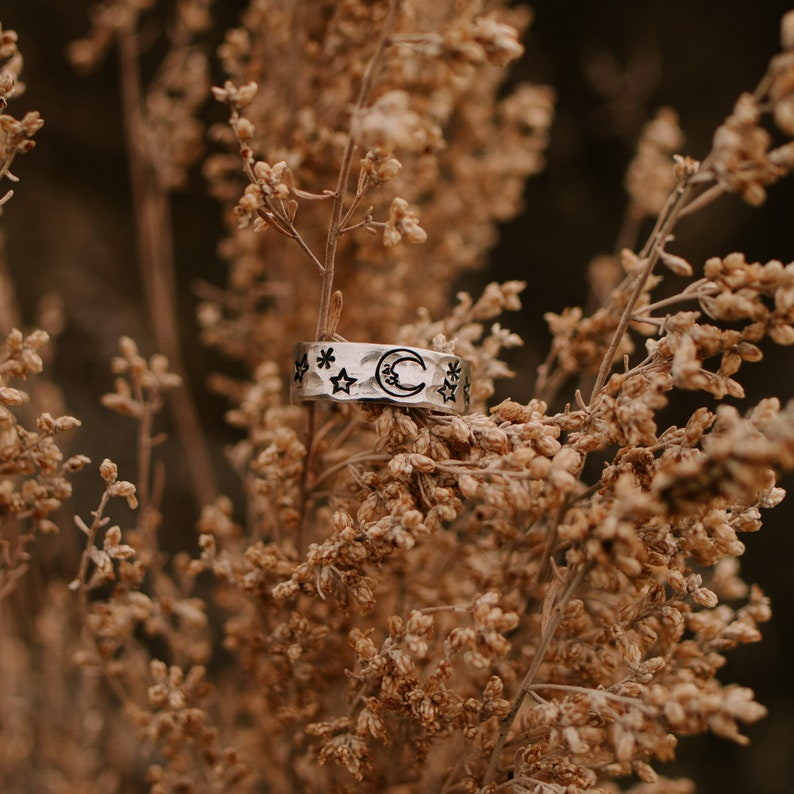 Moon Ring Celestial Jewelry Rings For Women Star Ring Gift image 0