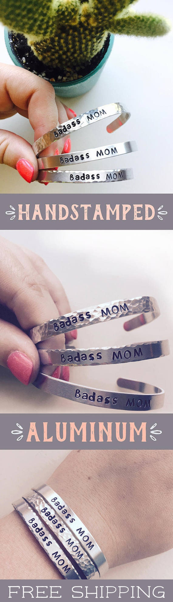 Christmas Gifts For Mom Badass Mom Handstamped Bracelet | Etsy