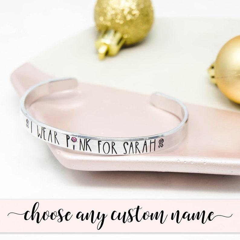 I Wear Pink For  Cancer Survivor Bracelet  Breast Cancer image 0