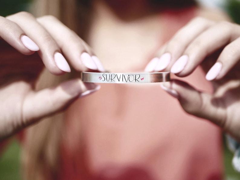 Cancer Survivor Bracelet  Breast Cancer Awareness  Swarovski image 0
