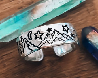 Mountain Ring, Nature Jewelry, Rings For Women, The Mountains Are Calling, Silver Rings, Outdoor Gift, Celestial Jewelry, Mountainscape