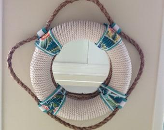 "Nautical Life Preserver Rope Mirror, Colorful & Tropical, South Seas Plantation, 18"""