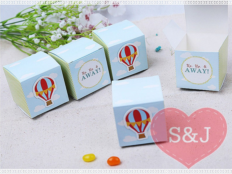 10 Hot Balloon 5 5x5 5x5 5cm Baby Shower Favour Boxes Birthday Party Bombonieres