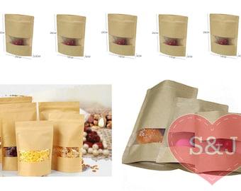 50x Zip lock bag, kraft paper bag, resealable bag, food storage bag, food packaging, stand up pouch, window face, foil liner