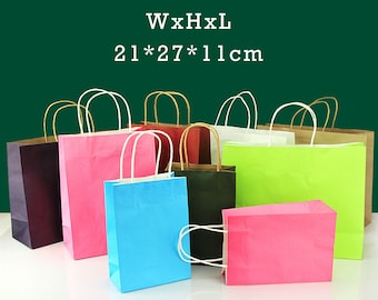 50x Kraft Paper Party Carry Bag 21x27x11cm Birthday Handle Disposable Wedding Favour Shopping