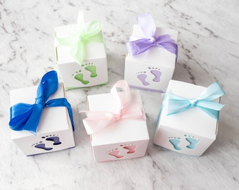 10x Baby Feet 6x6x6cm Baby Shower birthday party favour boxes with ribbon