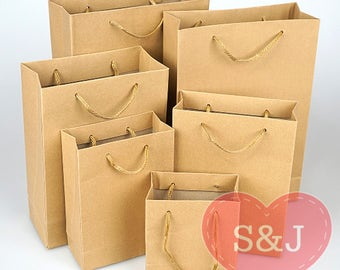 10x Kraft Brown Paper Carry Bags with Handle Wedding Party Favour/Bomboniere