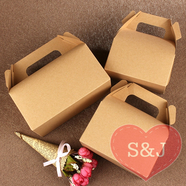 50x Brown Kraft Gable Cardboard Boxes With Handle Wedding Birthday Party Favour