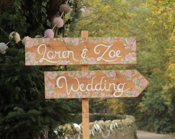 Personalised Wedding Single Signpost - choose your colours, flowers and wording