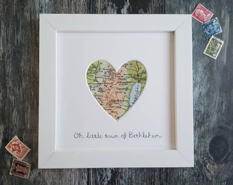 Personalised Framed Vintage Map of Bethlehem - Choose your wording
