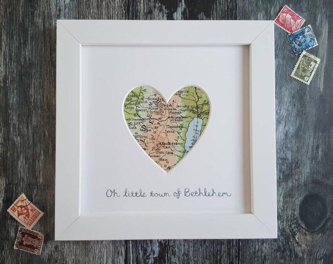 Personalised Framed Vintage Map of Bethlehem - Choose your wording