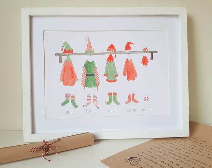 Personalised Christmas Elf Family Print with Letter from Santa - Choose your outfits and wording (add pets too) - Christmas elves