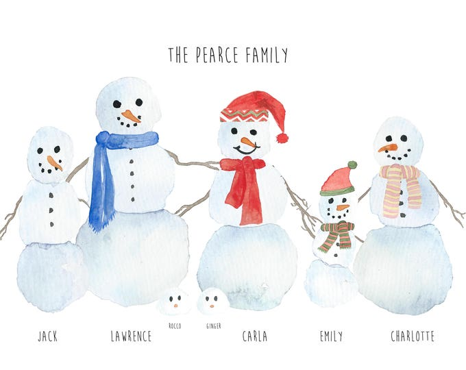 Digital File - Personalised Christmas Snowman Family Print  - Choose your characters and wording (add pets too)