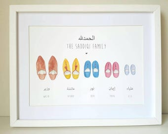 Personalised Family Moroccan Babouche Print - choose your slippers and wording