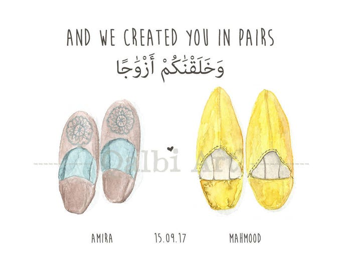 And We Created You in Pairs - Arabic Personalised Moroccan Slippers Print for Couples
