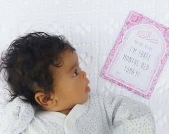 Muslim Baby Milestone Cards - for Girls