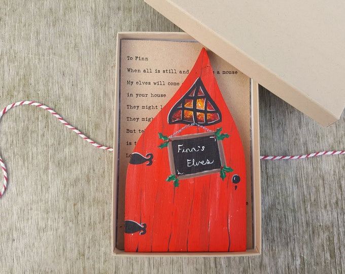 Hand-Painted Christmas Elf Door + Personalised Letter from Father Christmas or Santa - Choose your wording