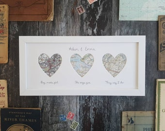 Original Vintage Map Frame - Choose 3 locations and wording
