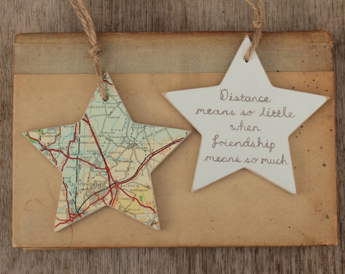 Holiday Memories - Vintage map personalised wooden star decoration - Choose your location and wording