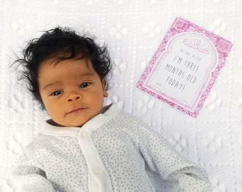 Muslim Baby Milestone Cards - for Girls