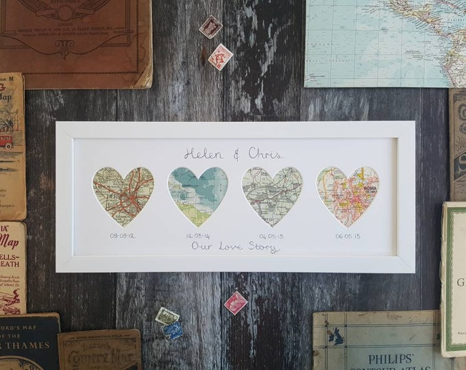 Original Vintage Map Frame - Choose 4 locations and wording