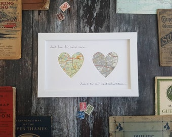 Original Vintage Map Frame - Choose 2 locations and wording