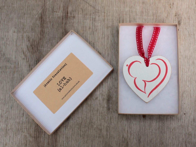Arabic Calligraphy Love Al Hub Hand Painted Wooden Heart Muslim