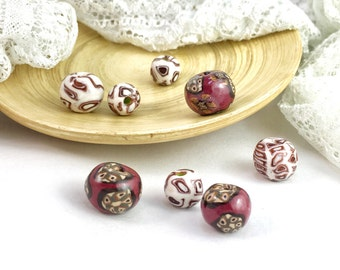 x8 Mixed Round Beads, Red Brown White Pattern Beads, Mixed Sizes Beads, Ball Bead, Colour Palette Artisan Beads, Art Bead, Flower Design