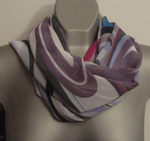 a5f6d735a3cb Foulard en mousseline de soie, foulard multicolore éternité, écharpe de  cercle abstrait été léger imprimé, violet, ...