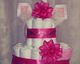 Unicorn Pink/Gold/White  2 Tier Diaper Cake/Baby shower/Gift/Centerpiece Ready To Ship!
