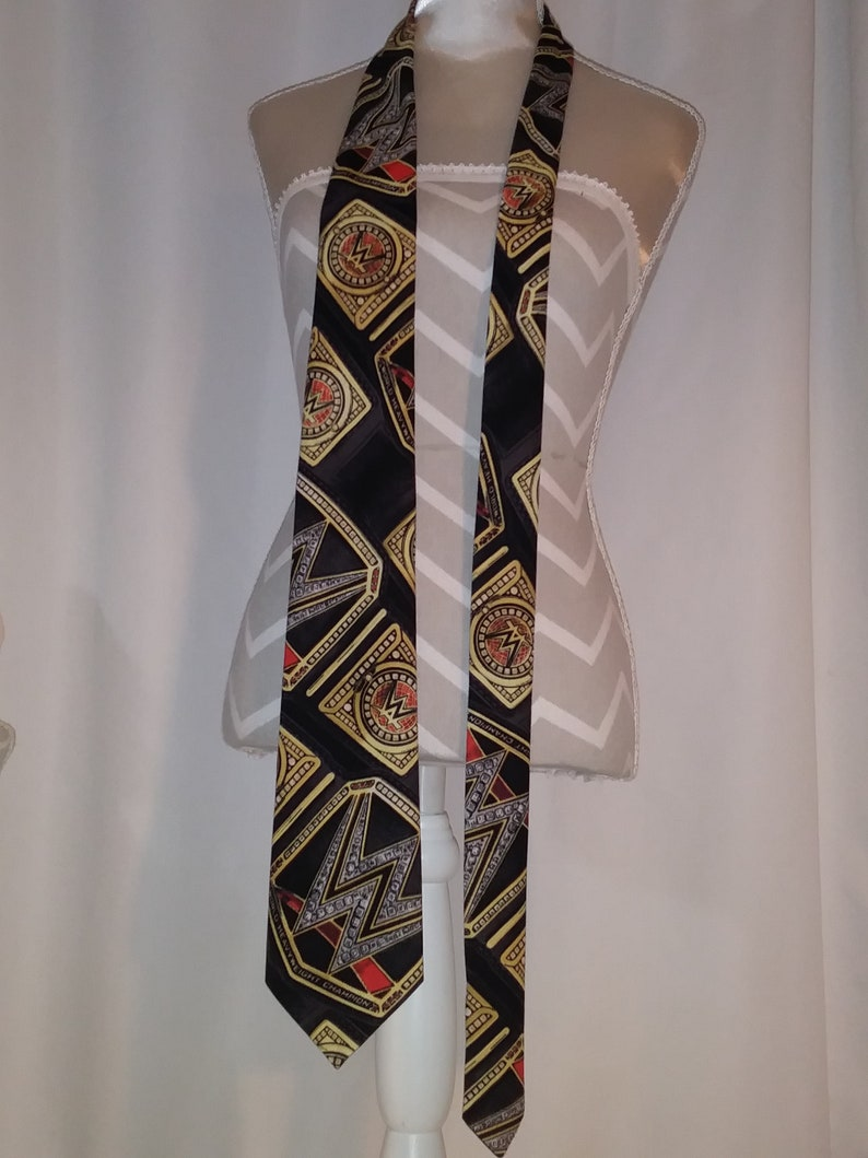 Necktie Wrestling Toss  Print  Black Fabric  59 Inches in length  Ready To Ship only one available
