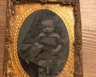 Antique Ambrotype Picture of Baby Girl with Foil Frame 1860s