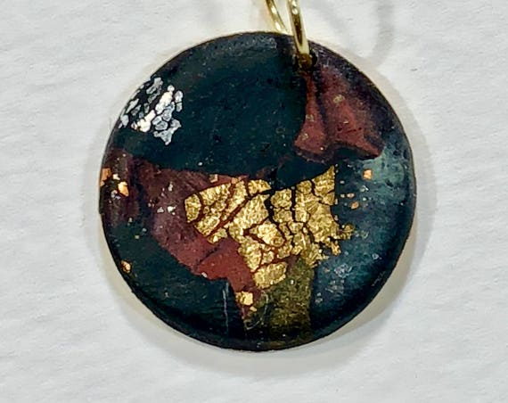 SJC10121 - Handmade black/red/gray/gold/silver polymer clay round pendant necklace with abstract asymmetric design