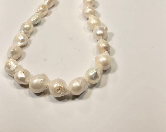 SJC10213 - Handmade white pearl necklace with sterling silver eye and hook clasp