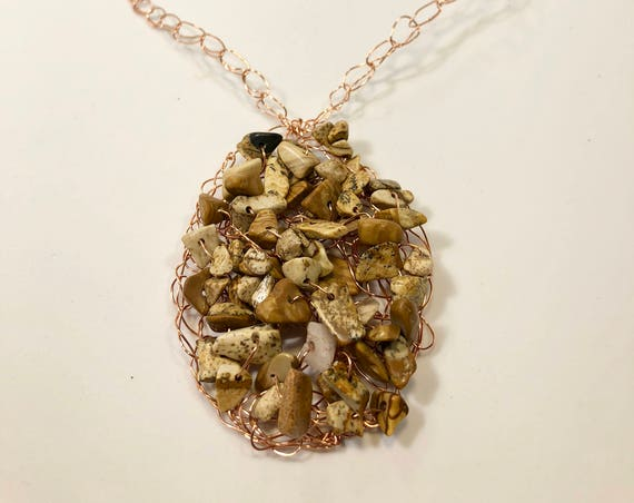 SJC10143 - Handmade copper wire crochet necklace with beige brown jasper gemstone chips