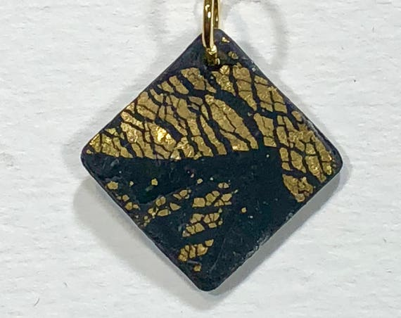 SJC10120 - Handmade black/gold polymer clay diamond shape pendant necklace with abstract asymmetric design